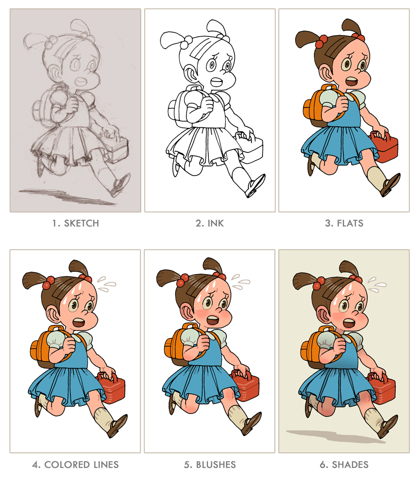 Color lineart in photoshop - I Would Sketch On Paper Ink On Tracing Paper Scan The Ink Trace And Then I Color Everything On Photoshop I Might Do A Step By Step Colored Pencil Study